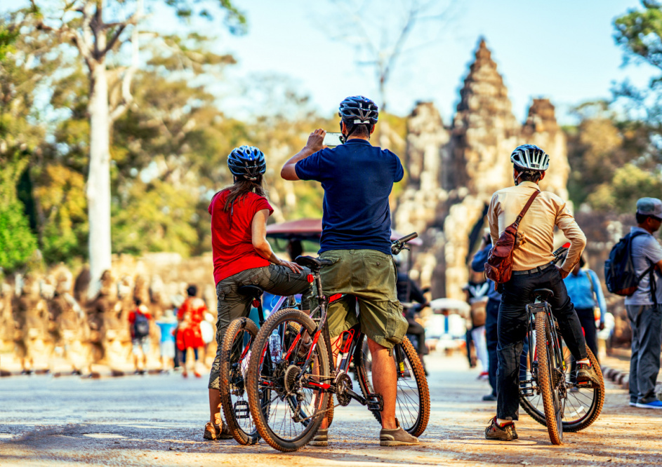 people cycling in Siem Reap