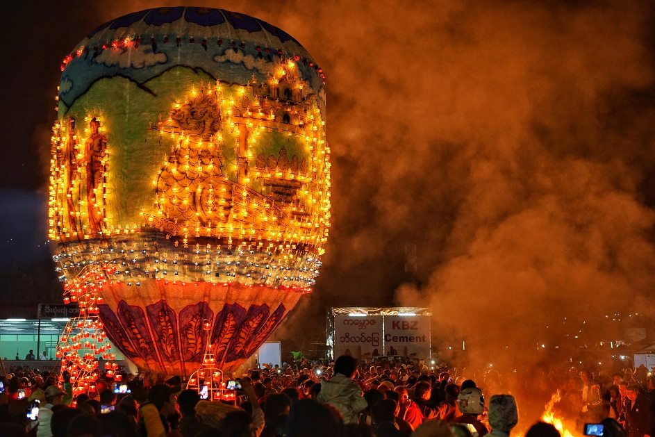 hot air balloon at night in Myanma