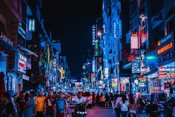 Colorful and crowded street in Vietnam